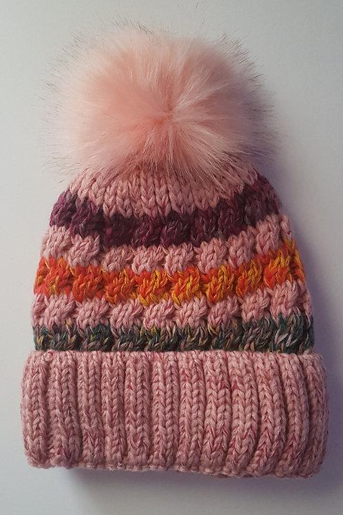 Pink Fleece Lined Bobble Hats