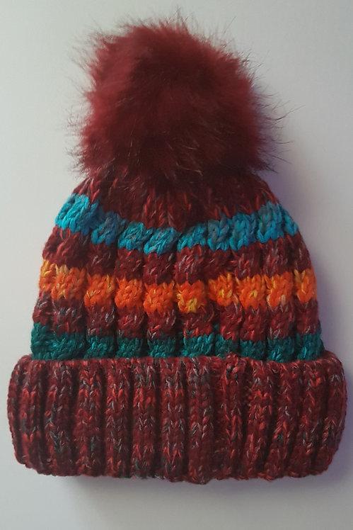 Wine Fleece lined Bobble Hat