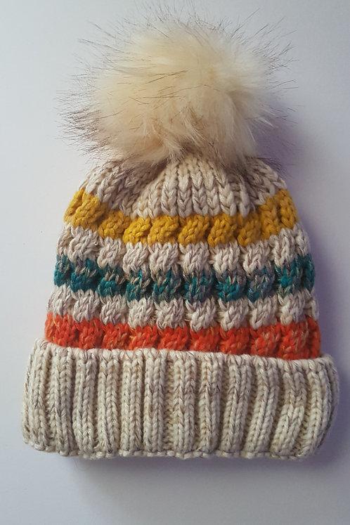 Beige Fleece Lined Bobble Hat