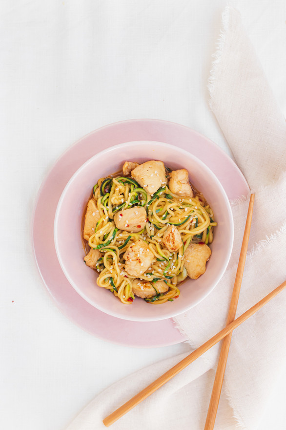 Marianne Haggstrom Food Photography | Courgette teriyaki noodles with chicken