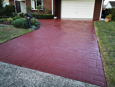Colored sealer applied to really old stamped concrete