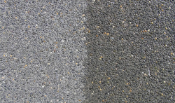 Cleaned.Before and after.Exposed aggregate sealing