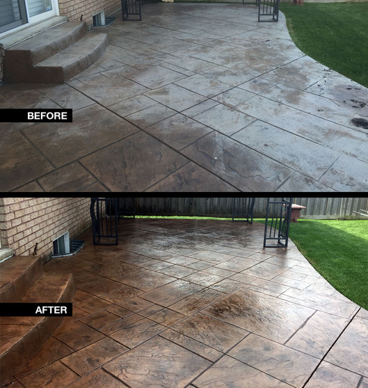 Before and after worn stamped