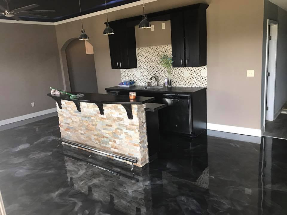 Metallic epoxy kitchen