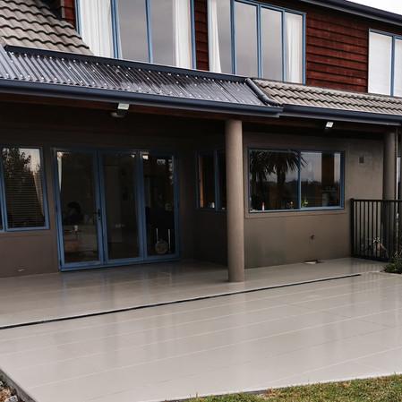 Colour sealed concrete cut into tiles