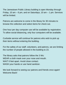 Starting Monday, May 10, the Jamestown P