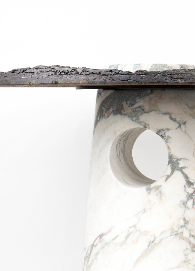Caposaldo / 2018  Bronze, Calacatta white marble Ø50 h45 cm  Limited edition of 5p + 1ap