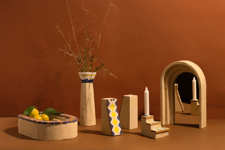 Apollineo collection  Leccese stone, calcarenite, maiolica tiles