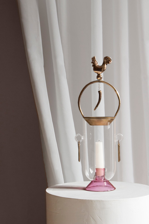Affascino candle holder/burner in casted bronze and borosilicate glass