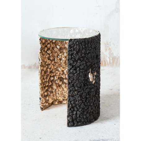 Side table / 2020  Polished bronze, slags, extra-clear crystal Ø38 h44 cm  Limited edition of 8p + 2ap