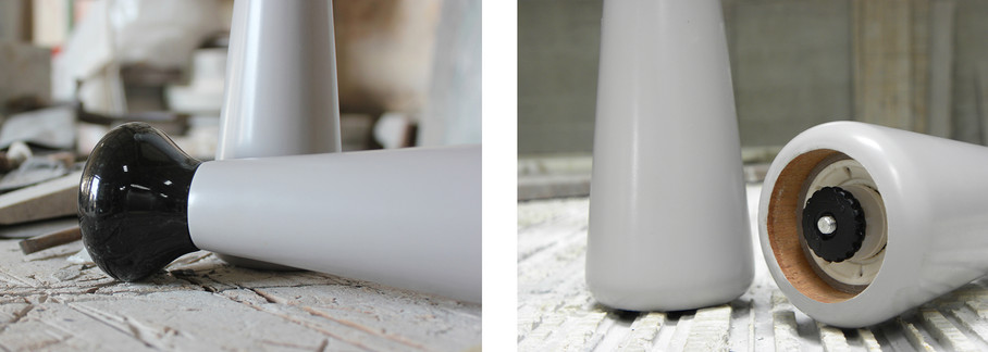 Cardine - Pepper mills in marble and wood inpired by classical columns