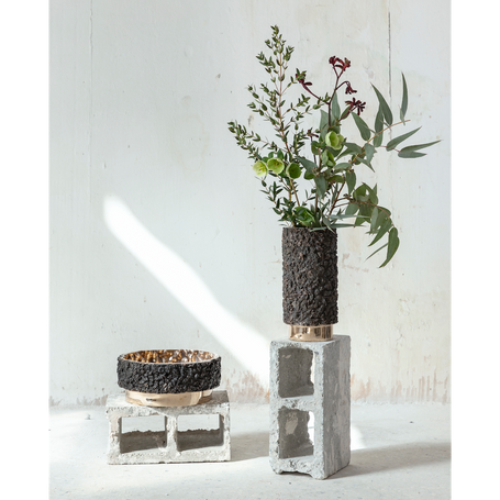 Vases / 2020  Polished bronze, slags High Ø15 h30 cm Flat Ø30 h10 cm