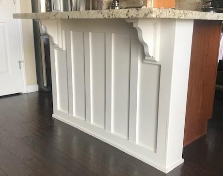 Custom kitchen island panel and trim