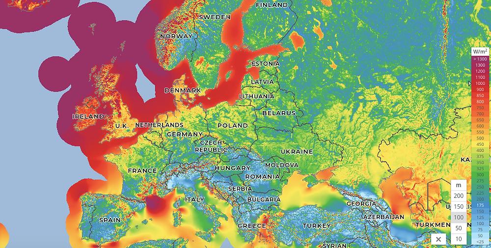 map of European mean wind power density