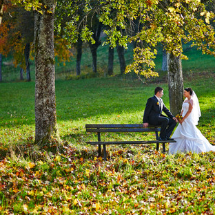 Brautpaar unter Herbstbäumen