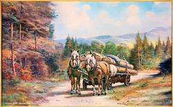004a_Holzfuhrwerk mit Pferden_Schnetzing