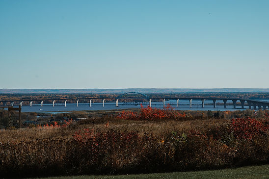 a view of the Blatnick bridge in the St. Louis Bay off of Lake Superior