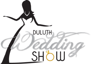 A graphic logo for a wedding show with a bride and a pearl necklace, with a engagement ring
