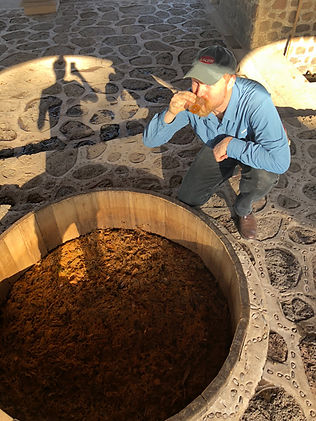 Tasting agave Durangensis fermentations at Cuero Viejo palenque, Durango Mexico