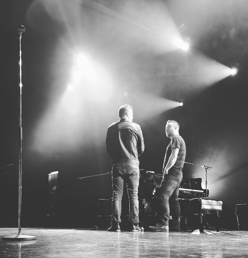 Jordan with Marc Martel during soundcheck.