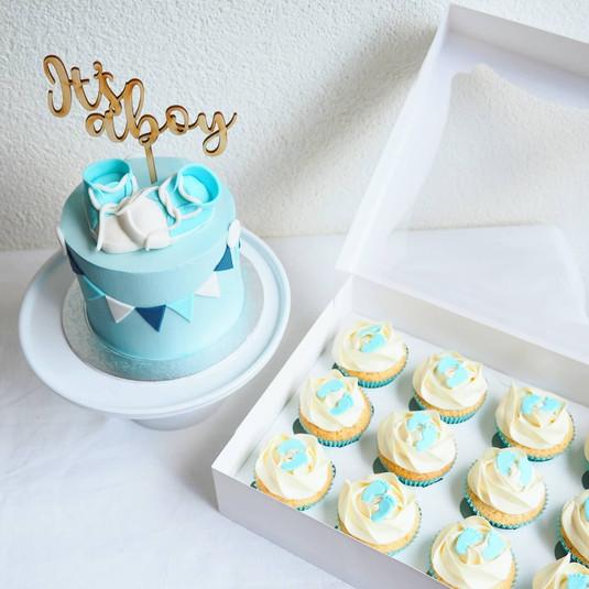 Babyshower taart en cupcakes jongen