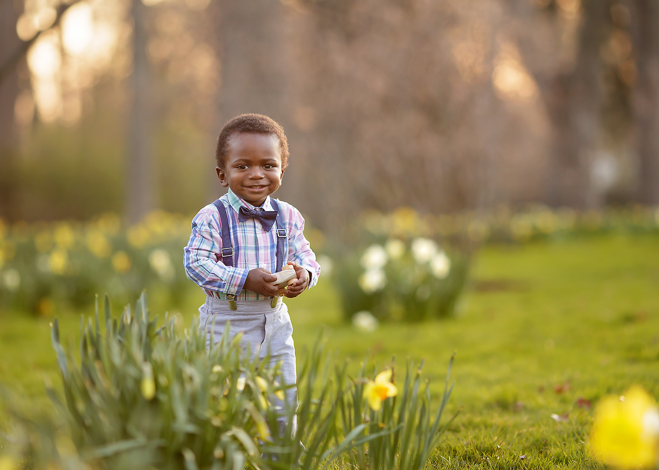Detroit Boy in Spring Flowers