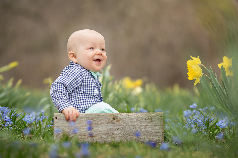 Grosse Pointe Baby Smiling in Sping Garden