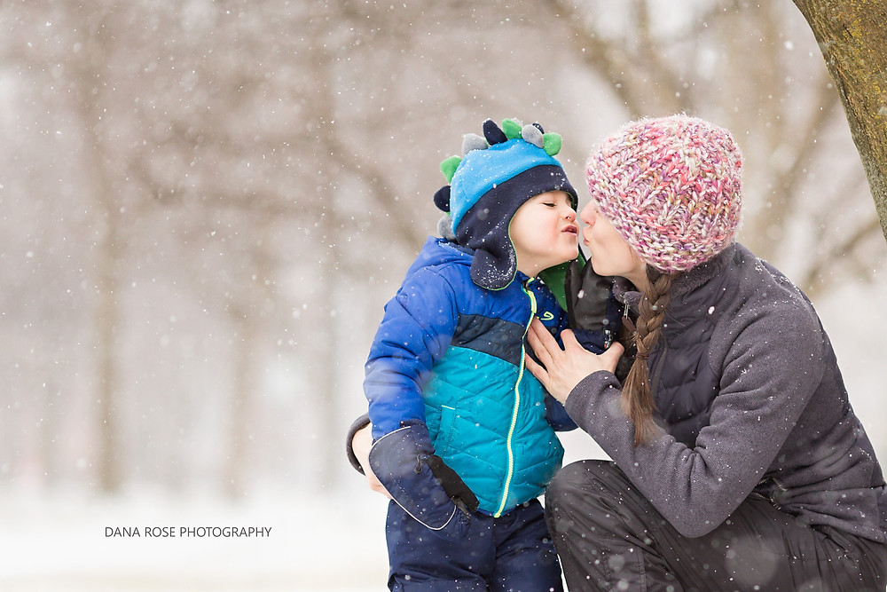 Mom and son in the snow