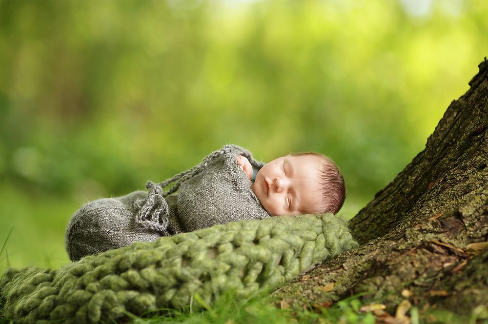 Grosse Pointe Newborn Outside Sleeping