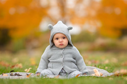 Infant baby boy's first fall