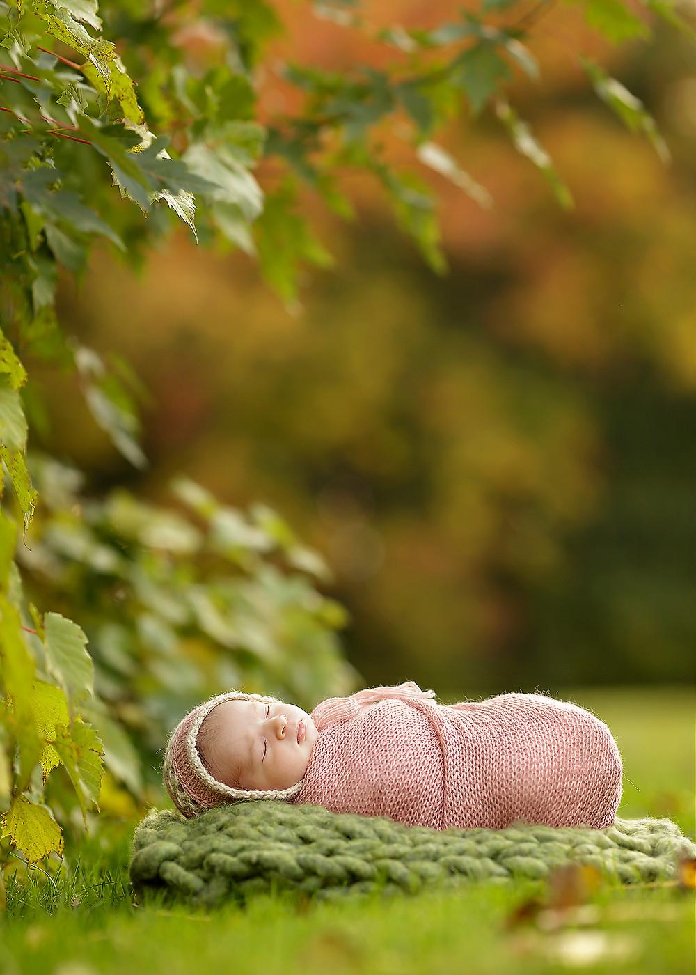 Clinton Township newborn baby outdoor fall photo shoot