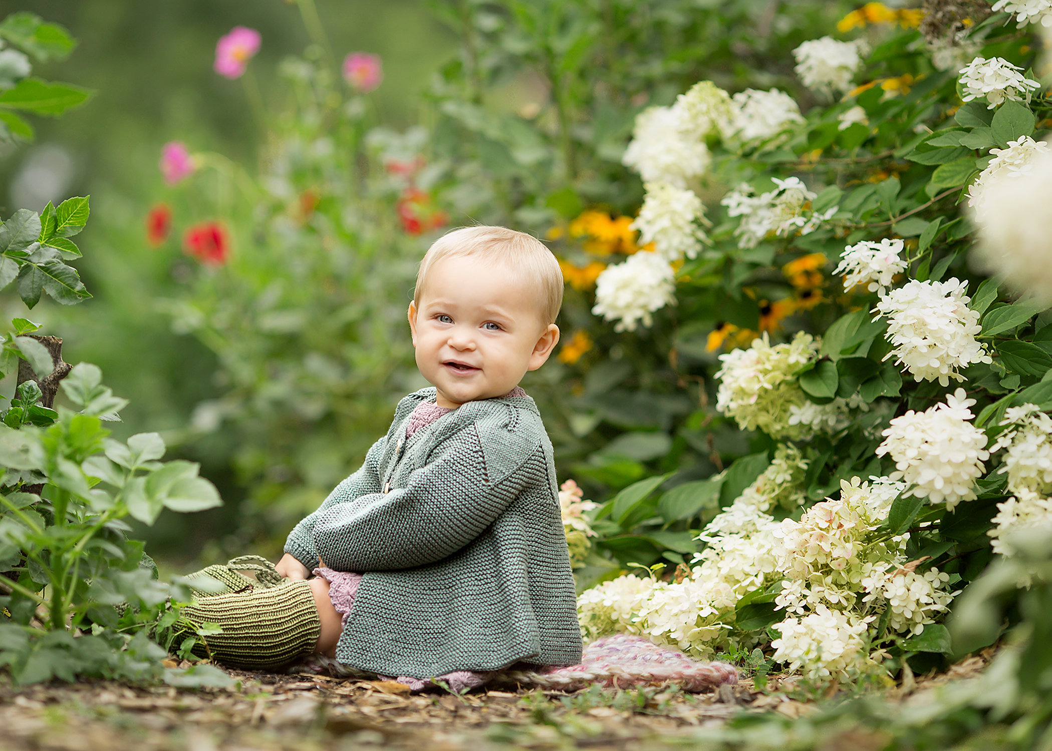 Baby Girl in Summer Flowers