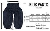 Bohemian Island kids harem pants size guide