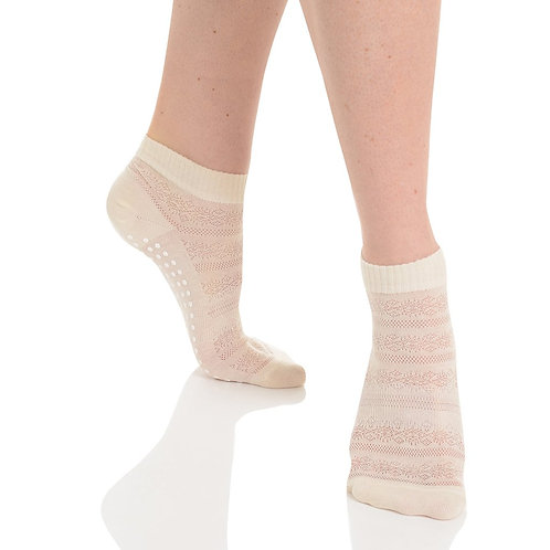 Kailey Crochet Grip Sock - Ivory