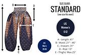 Bohemian Island standard harem pants size guide