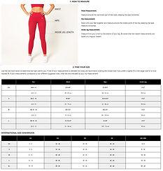 V3 Size Chart - Leggings