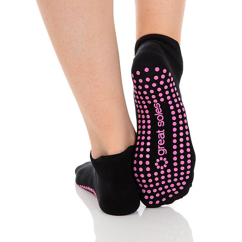 Tab Back Grip Sock - Black/Pink