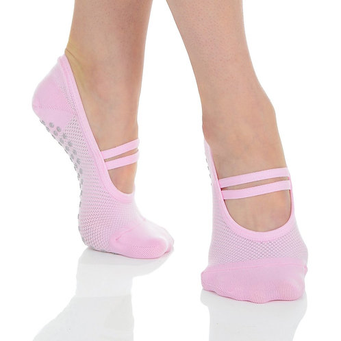 Mia Mesh Ballet Grip Sock - Pink/Grey