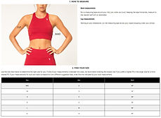 V3 Size Chart - Sports Bra