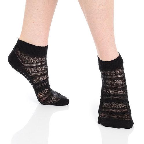 Kailey Crochet Grip Sock - Black