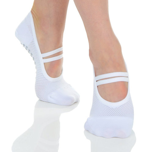 Mia Mesh Ballet Grip Sock - White/Grey