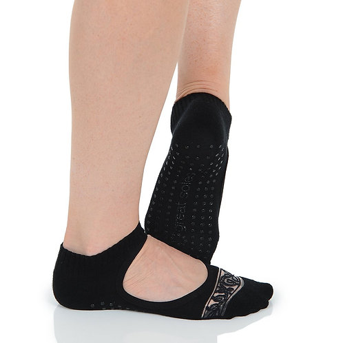 Isabella Grip Sock - Black/Lace