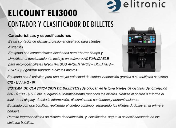CLASIFICADORA DE BILLETES ELI 3000