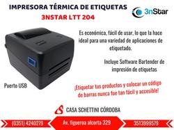 IMPRESORA TÉRMICA DE ETIQUETAS 3NSTAR LTT204