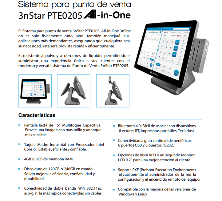 Sistema POS All-in-One Core i5 (PTE0205W