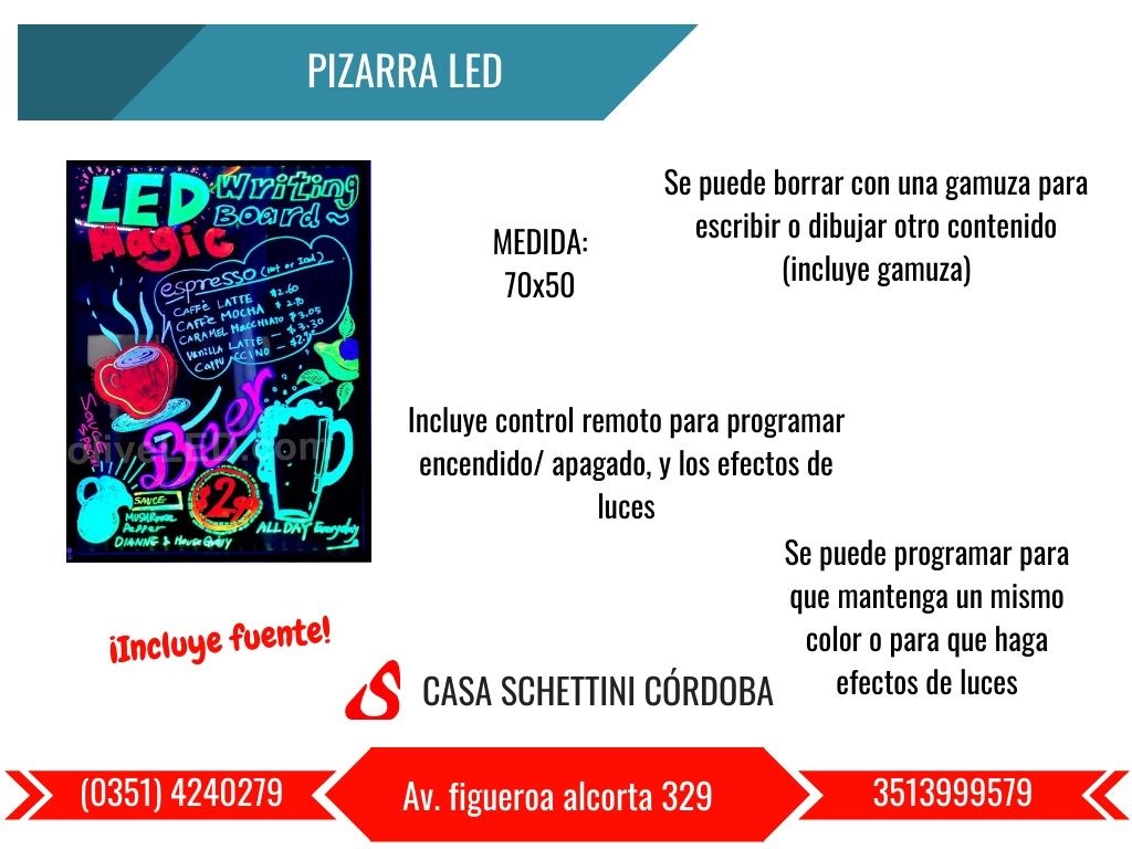 PIZARRA LED LUMINOSA CORDOBA