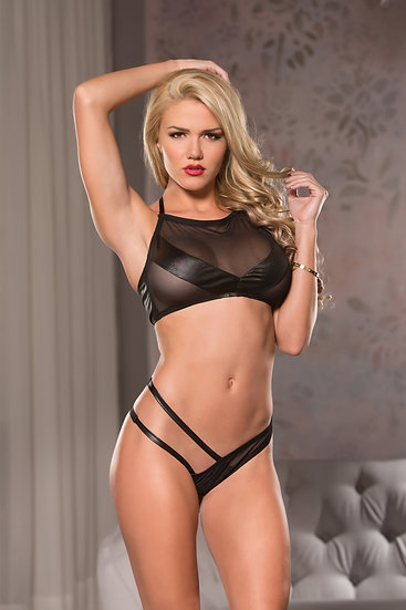 Mesh Top & G-String Set- Black