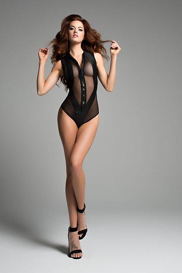 Sheer Sleeveless Body With Wild Zipper Front