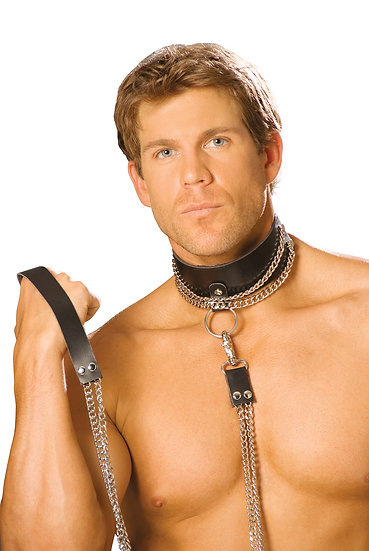 Leather Choker with Detachable Leash