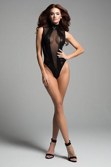 Enchanting Sleeveless Sequins & Sheer High Neck Body